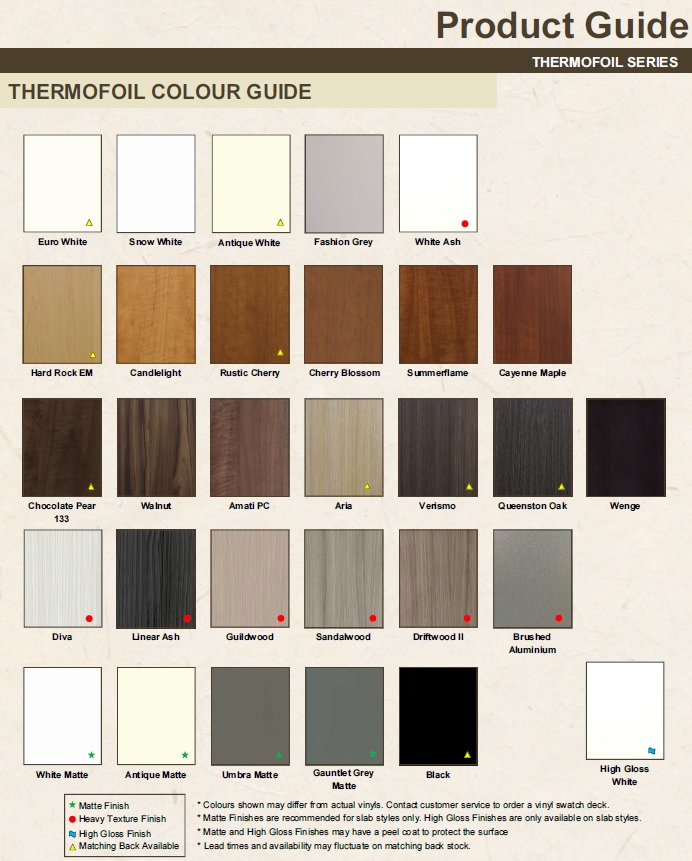Thermofoil Kitchen Cabinet Doors: Profile Colour Guide Thermofoil For Cabinet Doors And